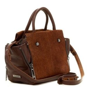 BOTKIER Brown Calf Hair Leather Boxy Satchel